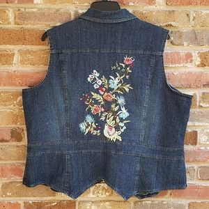 NY Collection 2X Blue Jean/Denim Embroidered Vest